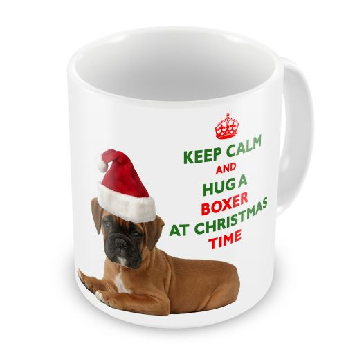 Christmas Keep Calm And Hug A Boxer Novelty Gift Mug